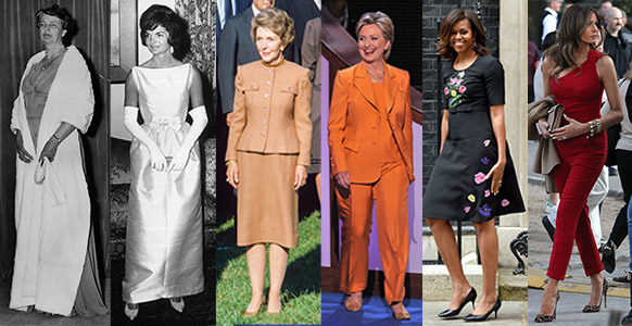 From left to right: First Ladies Eleanor Roosevelt, Jacqueline Kennedy, Nancy Reagan, Hillary Clinton, Michelle Obama and future First Lady Melania Trump. Photo: Getty