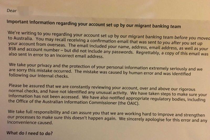 NAB sends customer details