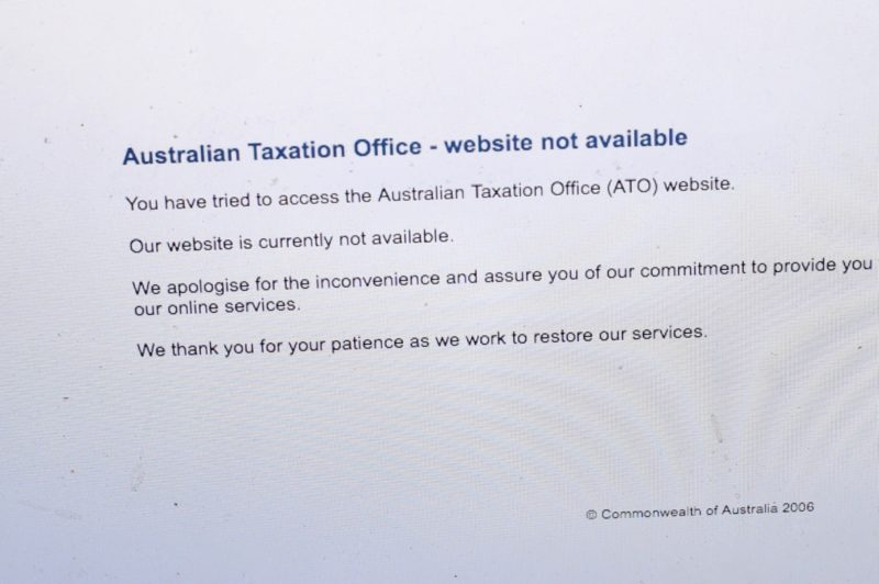 Visitors to the ATO site were met with this message.
