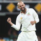Nathan Lyon celebrates Babar Azam wicket