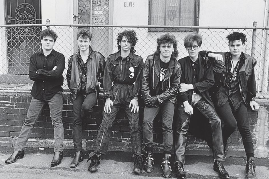 Michael Hutchence (third from left) and Andrew Farris (far left) founded INXS in 1977.