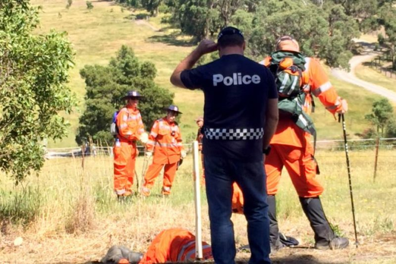 Police and SES volunteers search for Ms Ristevski at Toolern Vale, north-west of Melbourne.