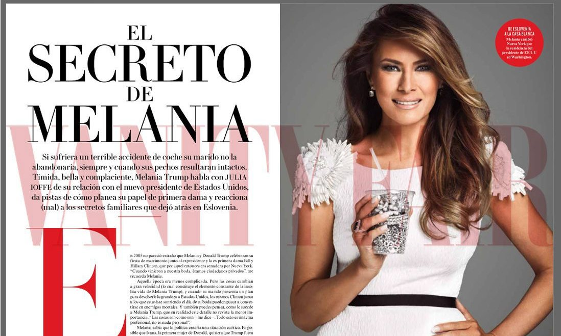 Melania is also shown holding a plastic cup of diamonds.