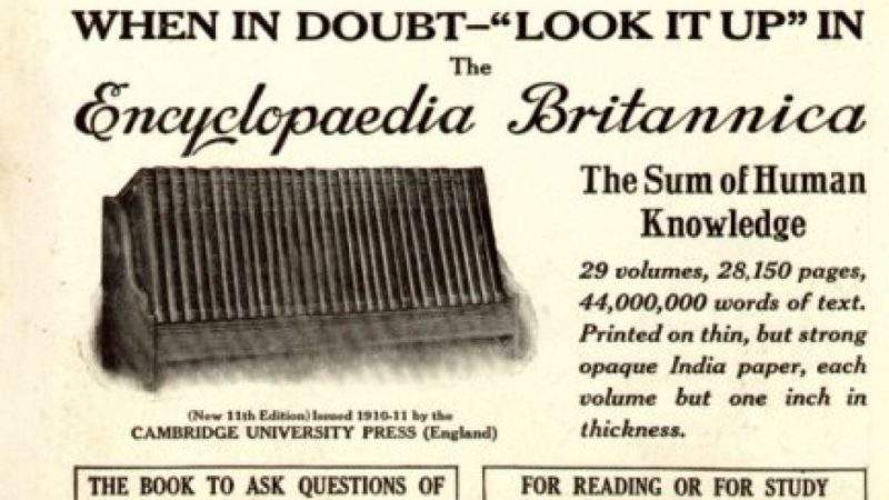 1913 U.S. advertisement for the 11th edition of the Encyclopedia Britannica