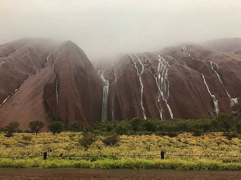 Rain made it to Uluru, prompting spectacular photos and international news coverage.