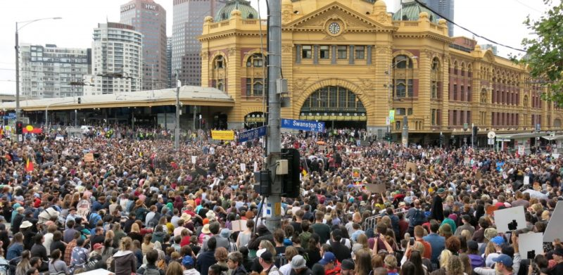 About 10,000 protesters gathered in Melbourne.