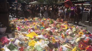 Hundreds of flowers, teddy bears were laid in tribute to the Bourke St victims.