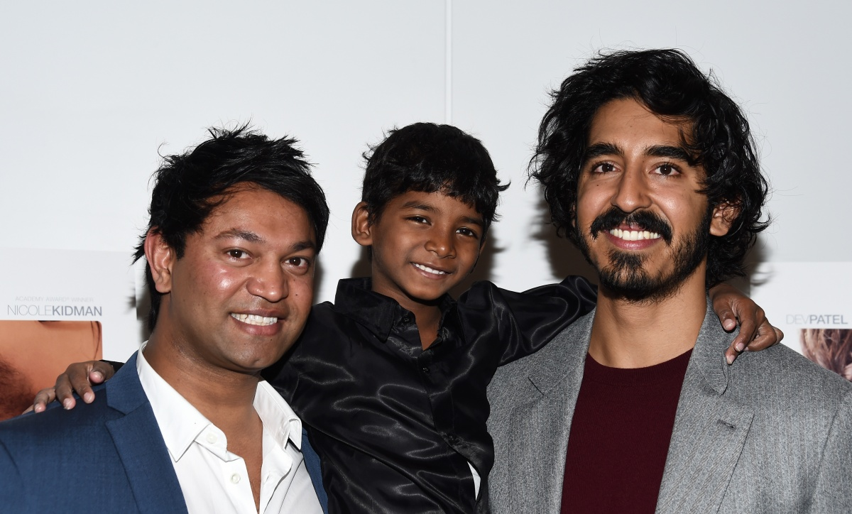 Saroo Brierley and actors Sunny Pawar and Dev Patel attend a Los Angeles screening of Lion'