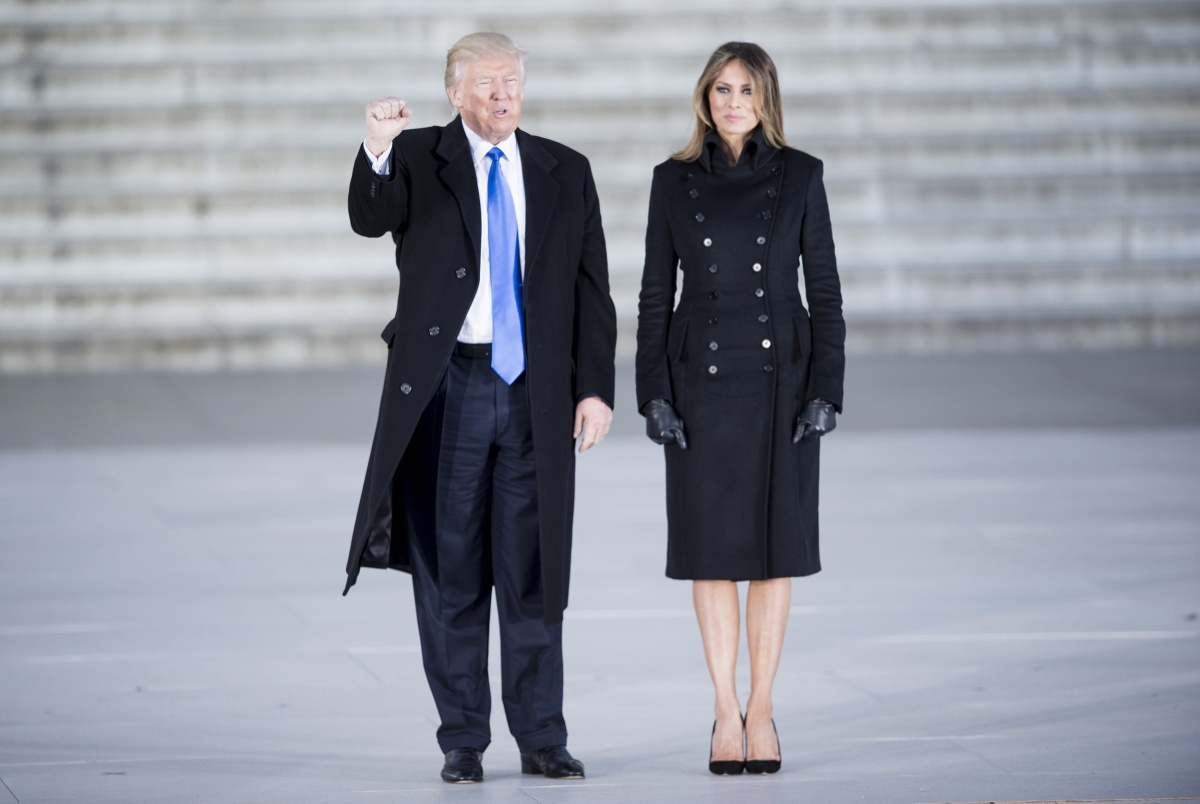 The President-elect and future First Lady at an inauguration concert at the Lincoln Memorial in Washington on January 19. Photo: Getty