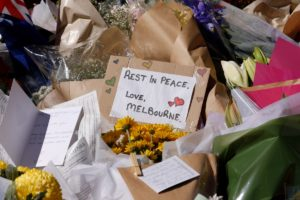 Melburnians laid floral tributes at the site of the horror incident.