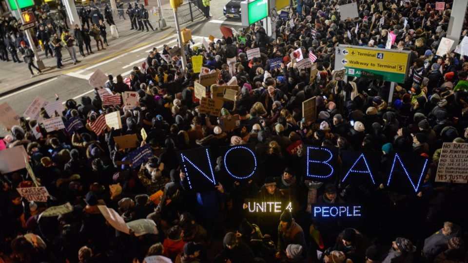 Muslim ban protests JFK airport New York