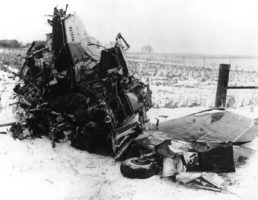 The wreckage of the plane crash that killed rock stars Buddy Holly, Ritchie Valens and The Big Bopper (Jiles Perry Richardson, Jr.) in Iowa in 1959.