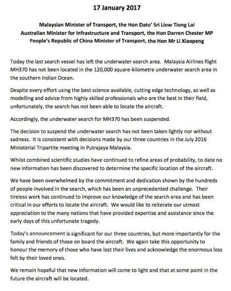 MH370 statement