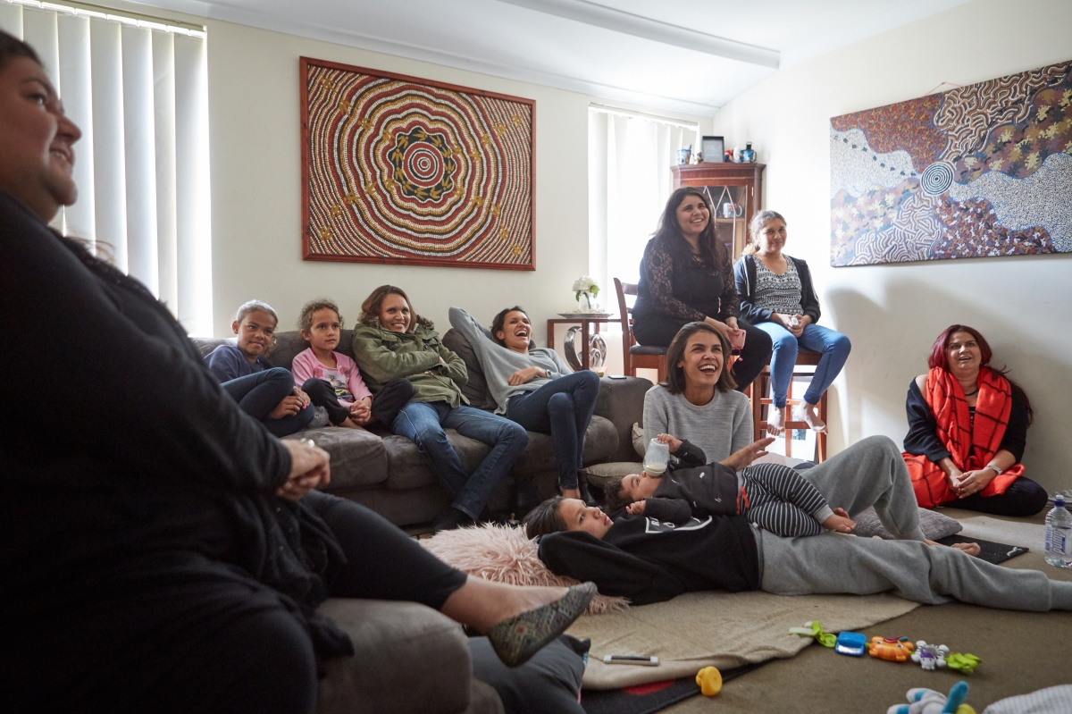 The Rule family relaxing at home. Photo: NITV