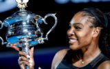 Serena Williams holds the Australian Open trophy