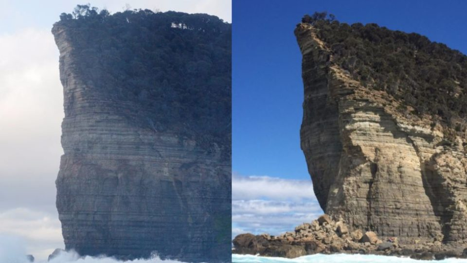Shipsterns Bluff before and after
