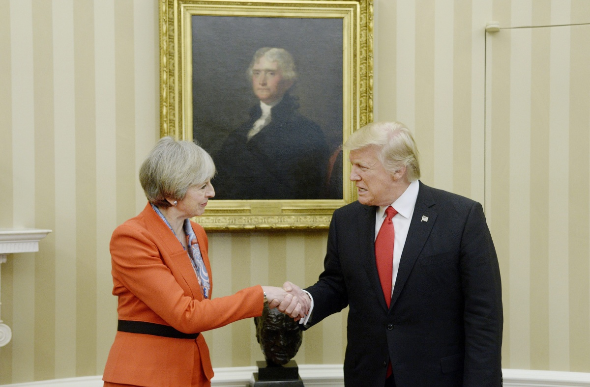 US President Trump shakes hands with British PM Theresa May in the Oval Office. Source: AAP