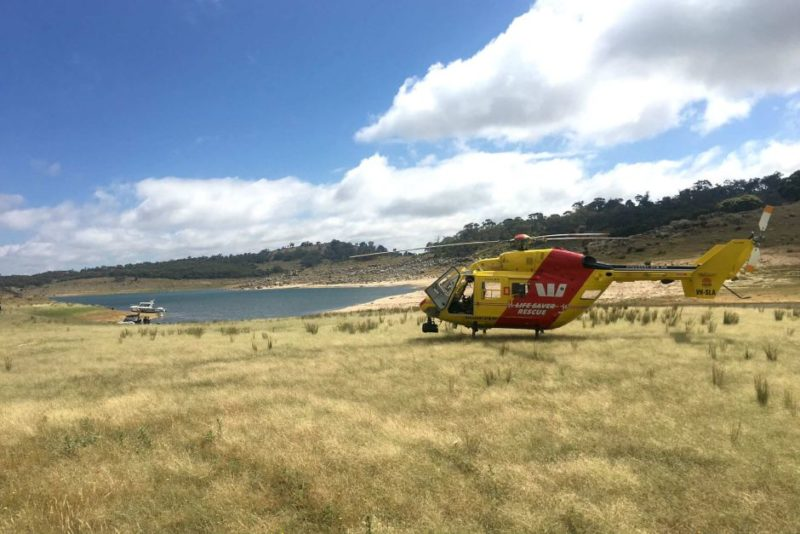 The life saver rescue chopper is being used in the search for a man at Lake Eucumbene.