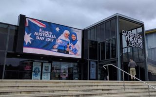 Australia Day poster of girls wearing hijabs in Canberra