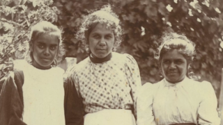Mena Cameron (daughter of Bessy Flowers), Lydia Gilbert and Annie Harrison, c.1898. Photo: Strathfieldsaye Estate Collection (1976.0013). University of Melbourne Archives, PA.198 p.9 (Ramahyuck Album 8.4.9)