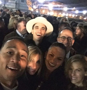 Celebrity couples John Legend and Chrissy Teigen take a photo with Jerry and Jess Seinfeld at the exclusive White House party, where no journalists were allowed. Photo: Instagram