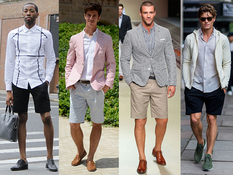 Men can make shorts look more formal with light blazers, crisp shirts and loafers. Photo: Getty