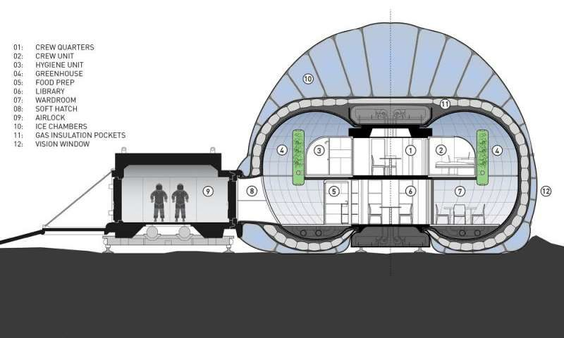 Another cutaway of the interior design of the Mars Ice Home concept.