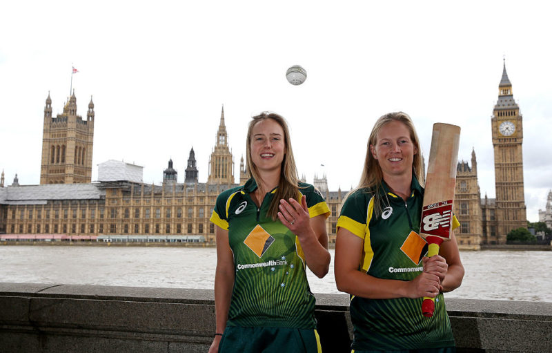 High-profile Southern Stars Elyse Perry and Meg Lanning front the cameras in London. Photo: Getty
