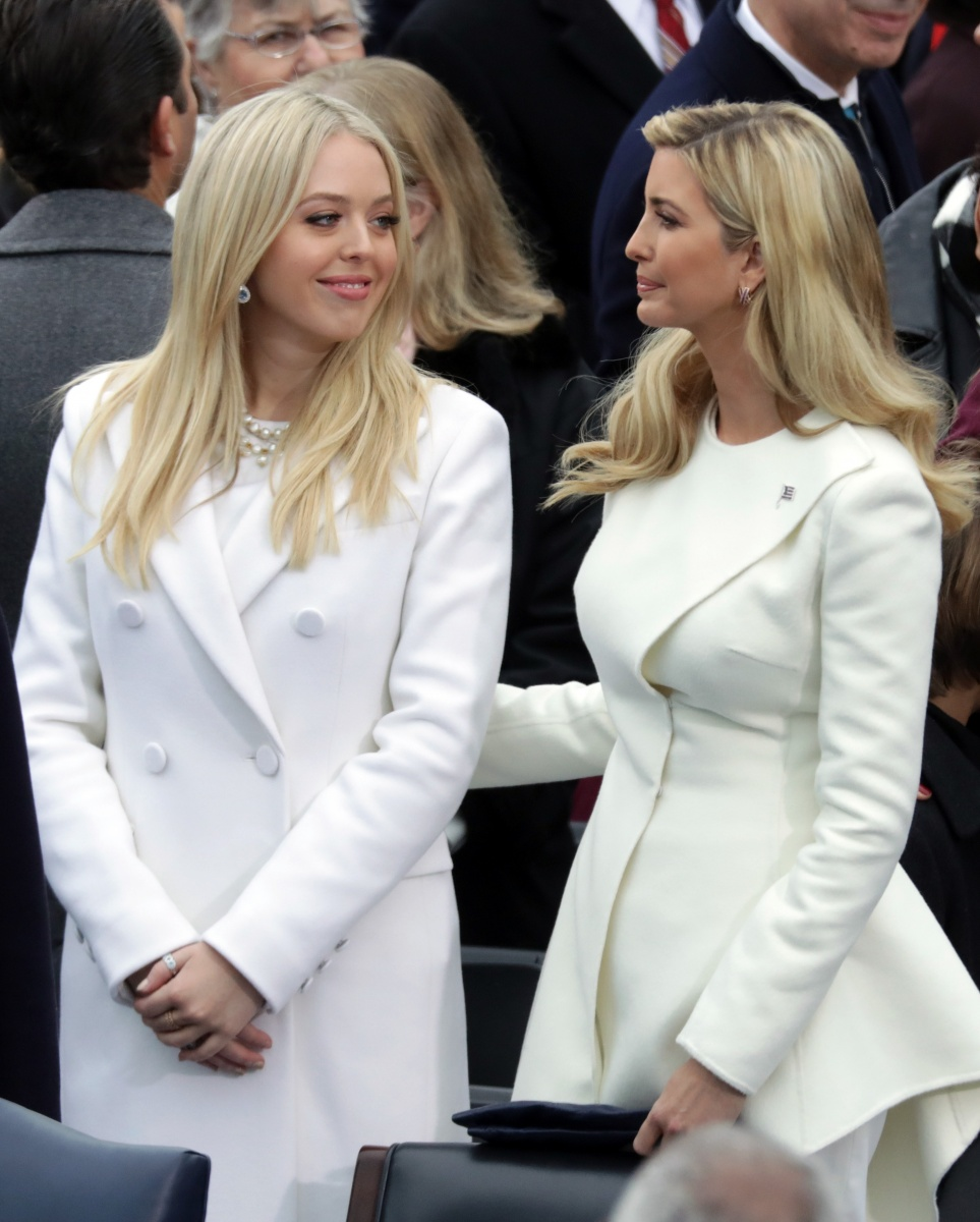 Tiffany (left) and Ivanka Trump both chose white outfits. Photo: Getty
