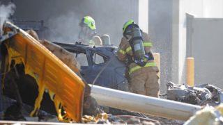 firefighters control blaze essendon airport crash DFO