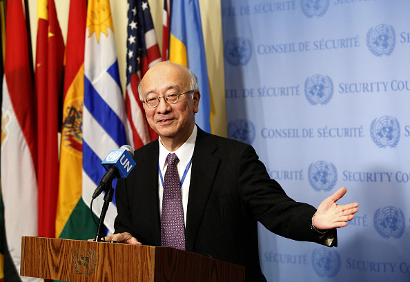 """Japan's Ambassador to the UN Koro Bessho speaks to the media after the Security Council meeting on North Korea's latest ballistic missile launch, February 13, 2017 at United Nations headquarters in New York. UN Secretary-General Antonio Guterres on Monday strongly condemned North Korea's latest ballistic missile launch, describing it as a """"further troubling violation"""" of UN resolutions. / AFP / EDUARDO MUNOZ ALVAREZ (Photo credit should read EDUARDO MUNOZ ALVAREZ/AFP/Getty Images)"""