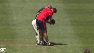 Sam Harper wicketkeeper struck by bat