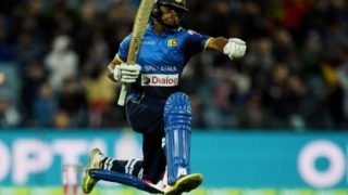 Sri Lanka's Adela Gunaratne jumps for joy on Sunday after scuttling Australia's hopes of winning the three-game series.