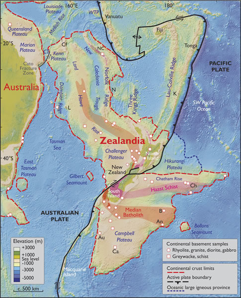 Map of what geologists are calling Zealandia, a continent two-thirds the size of Australia lurking beneath the waves in the southwest Pacific.