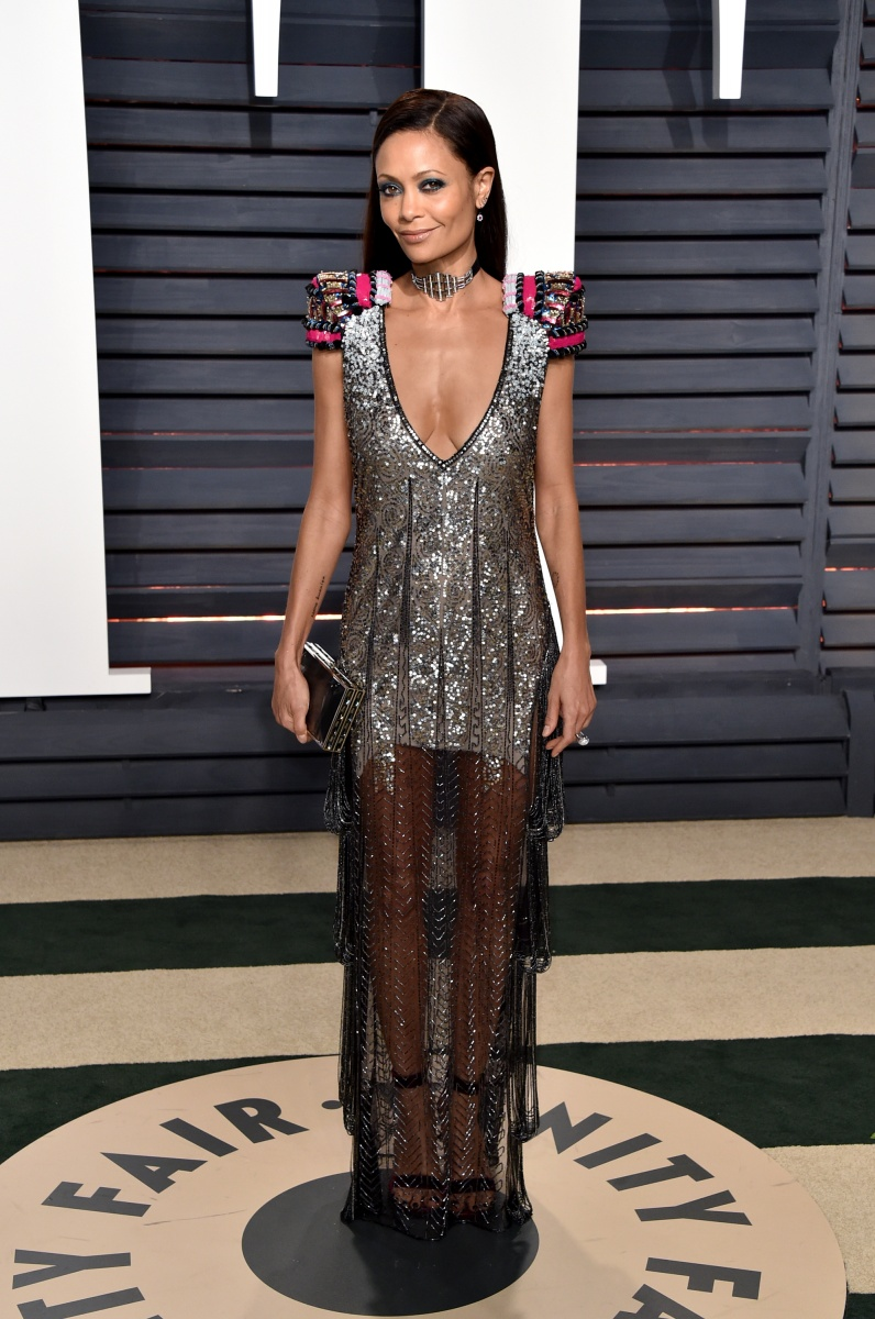 Thandie Newton's shimmering gown had a surprisingly sheer bottom.