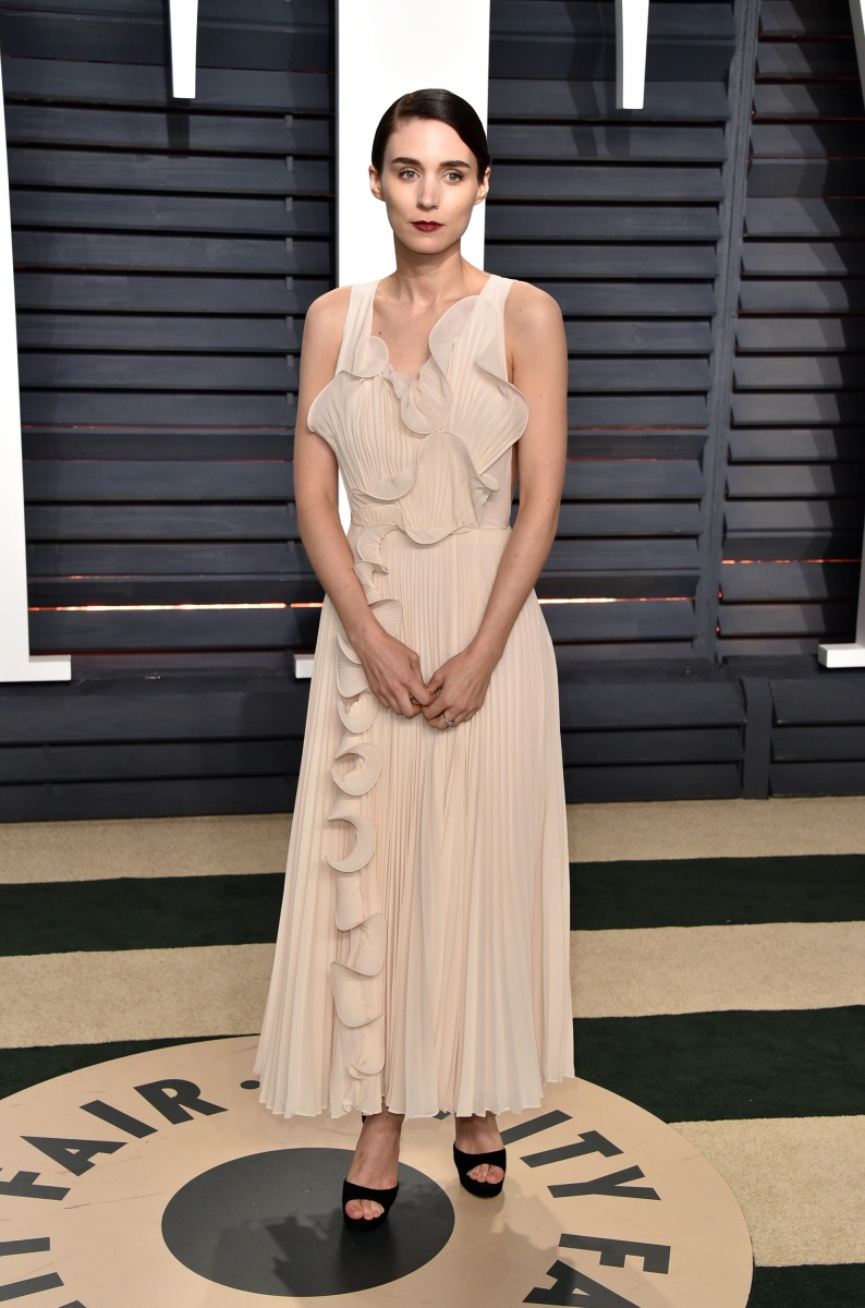 Fashion minimalist Rooney Mara looks subtly glamorous in a skin-toned stunner.