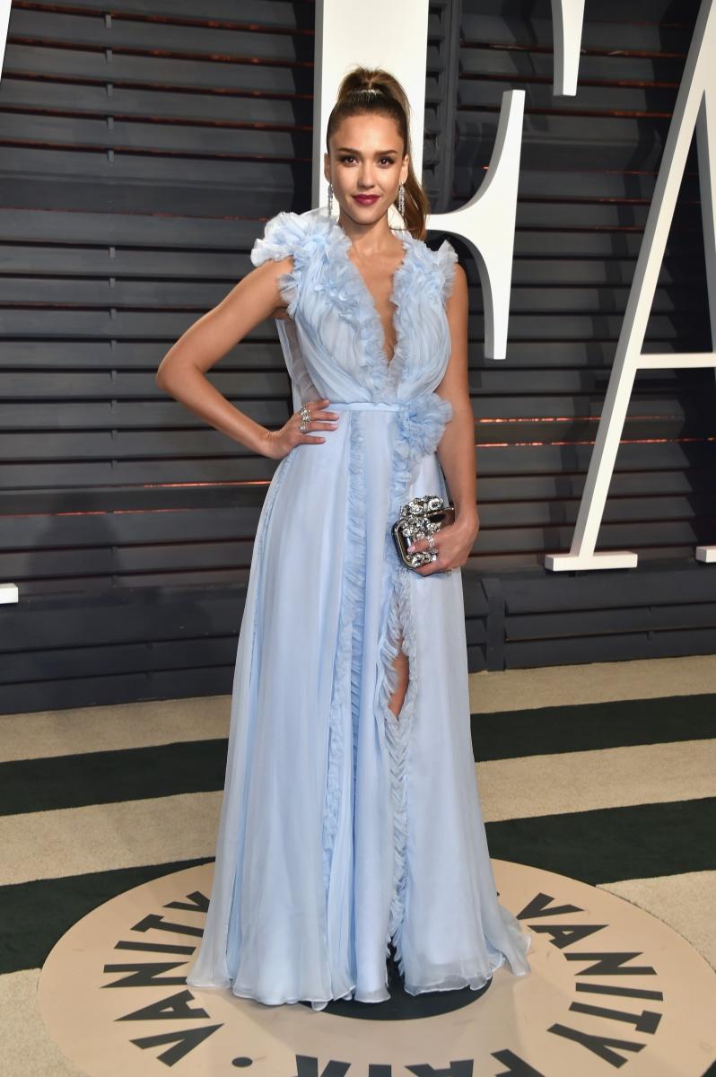 Jessica Alba in dreamy pale blue.