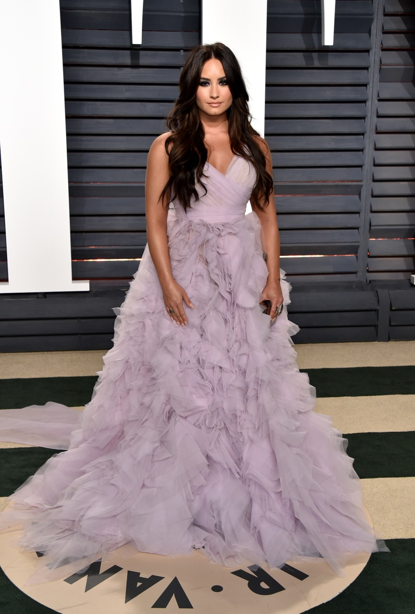 Demi Lovato went for the fairy princess look in pale purple.
