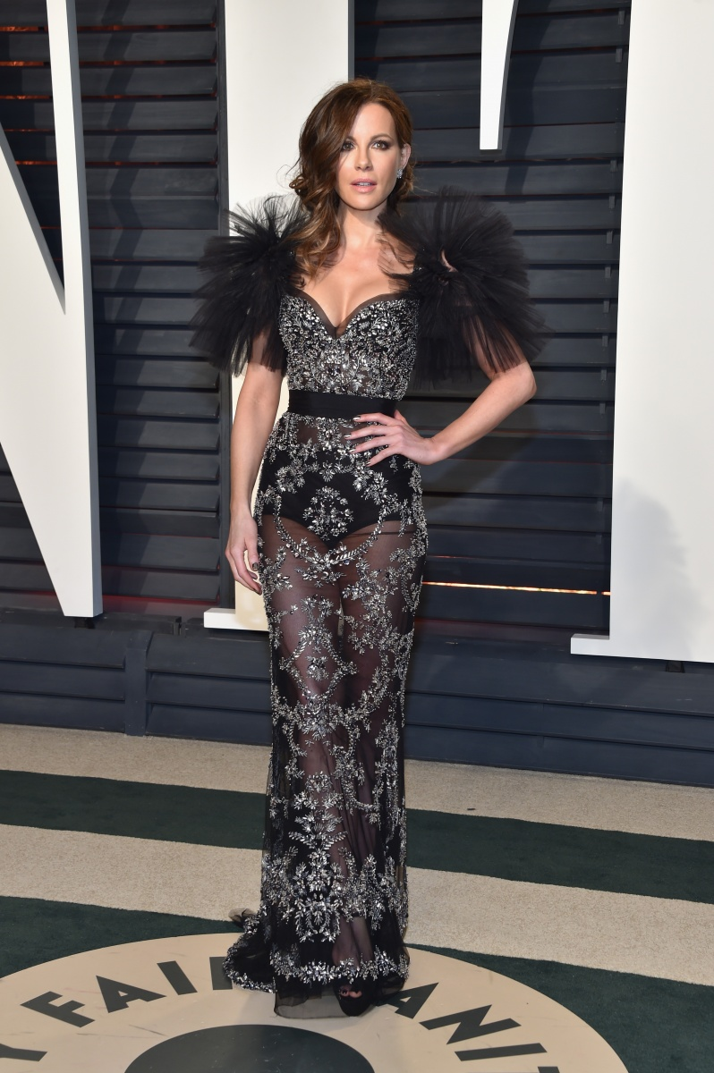 Kate Beckinsale went with dramatic feathered sleeves.