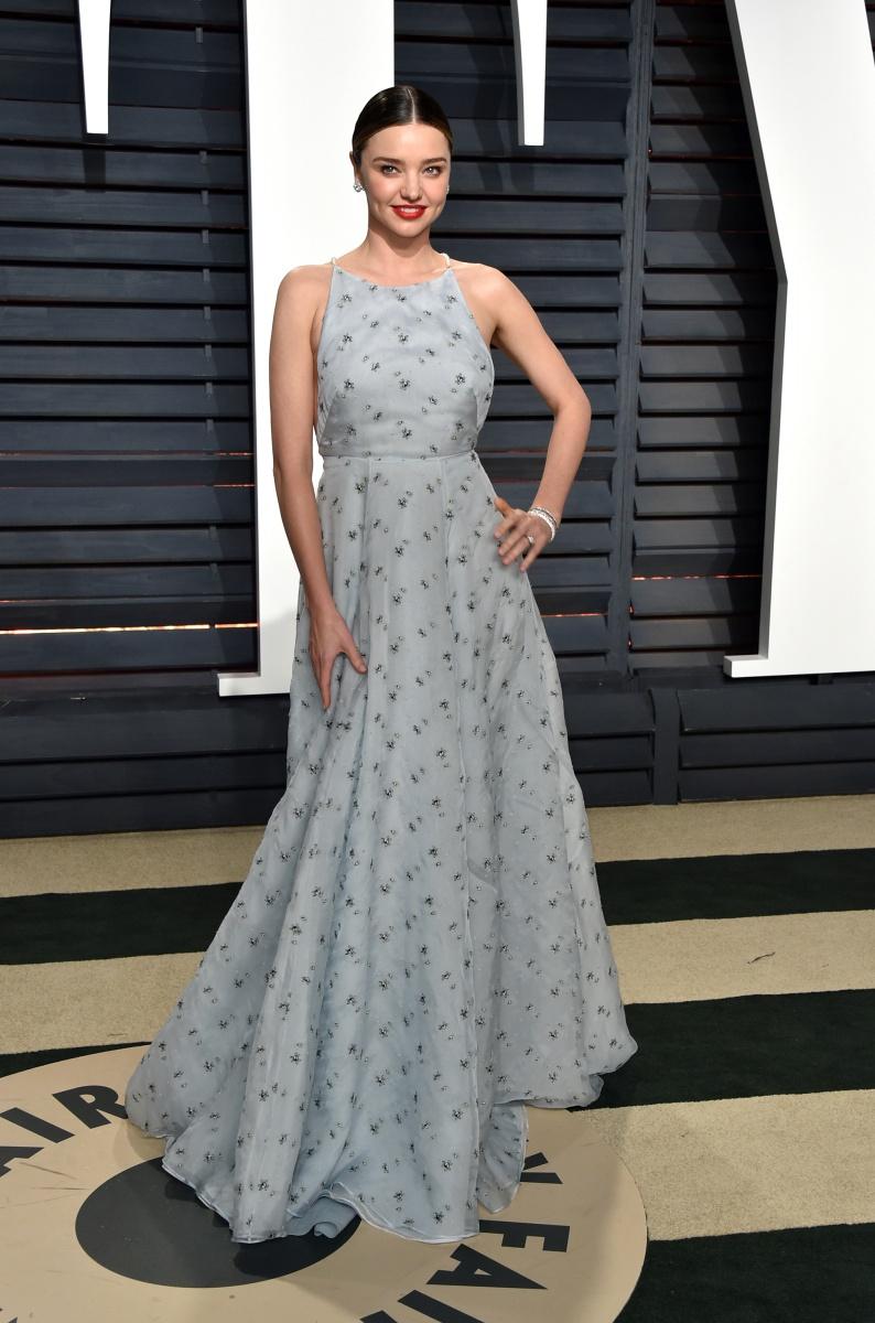 Miranda Kerr opts for a full skirt.
