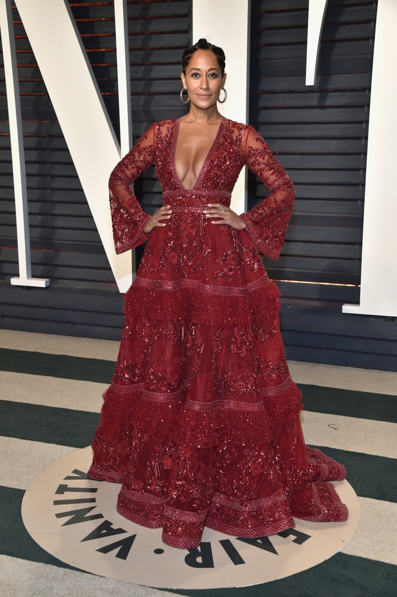 Tracee Ellis Ross opts for some drama in this wine-coloured gown.
