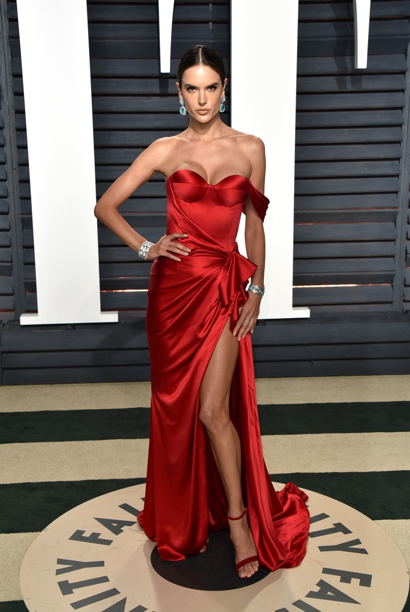 Alessandra Ambrosio stood out from the crowd in vampish red.