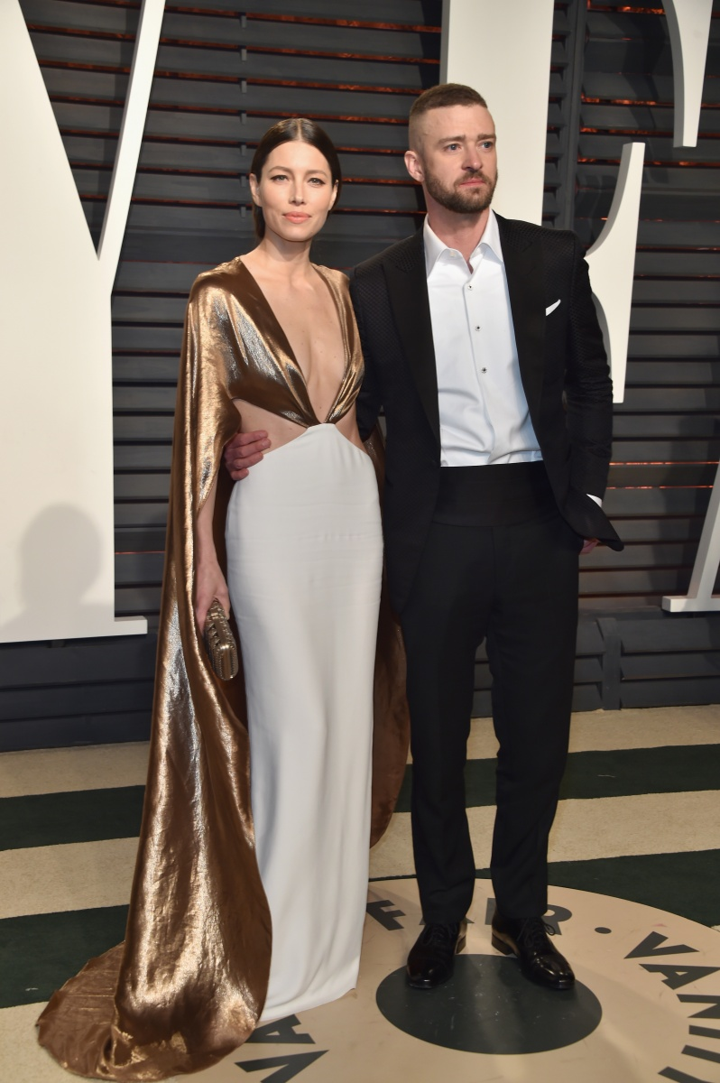 Jessica Biel, wit husband Justin Timberlake, had a quick change into this gold caped gown.