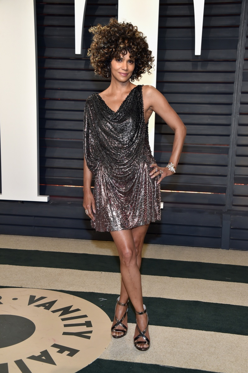 Halle Berry's ill-fitting disco look swamped her figure.