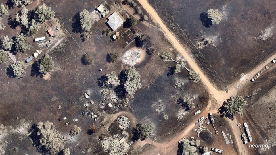 An aerial shot of the recent fires which swept through the rural community of Uarbry in NSW. Photo: AAP
