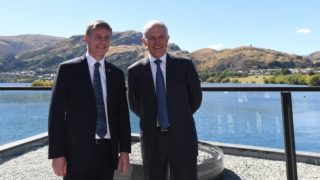 New Zealand PM Bill English with Malcolm Turnbull in Queenstown during a fleeting 24-hour trip.