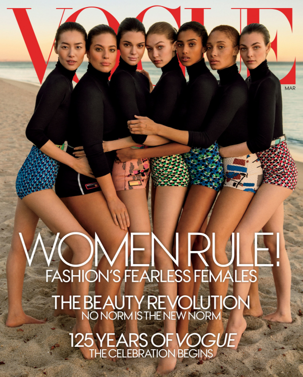 The cover of the March issue of US Vogue, with Ashley Graham second from the left.