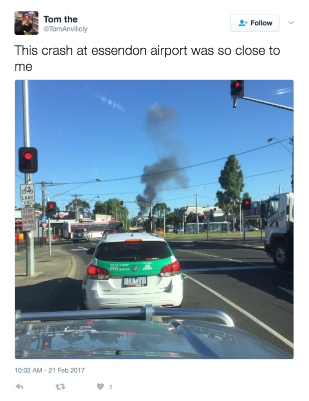 DFO plane crash essendon airport view from distance social media