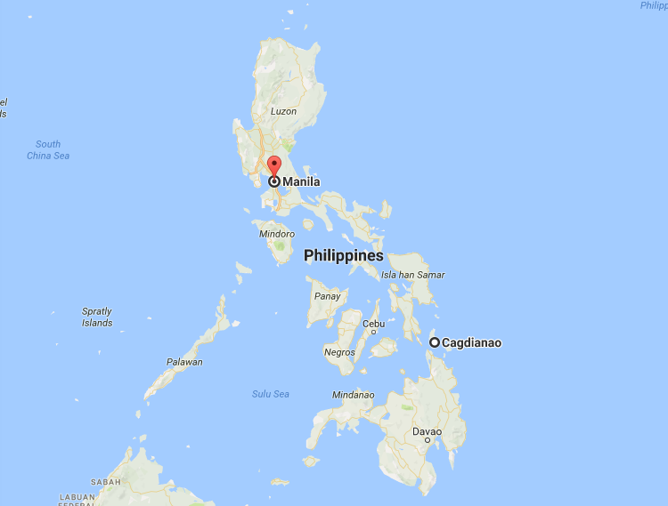 Cagdianao, Dinagat Islands, south-west of the capital Manilla. Photo: Google Maps