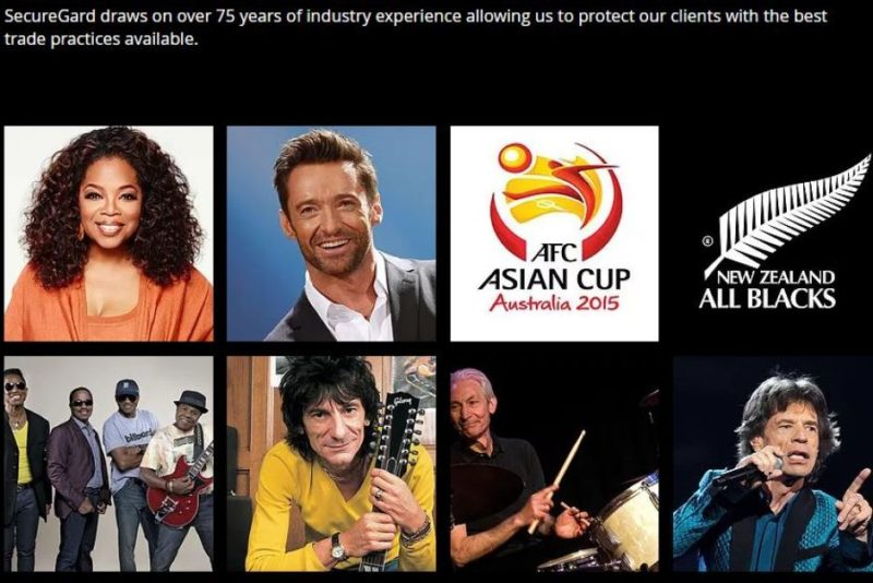 SecureGard celebrity clients
